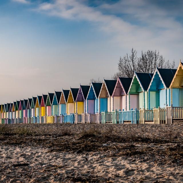 """Pastel beach huts"" stock image"