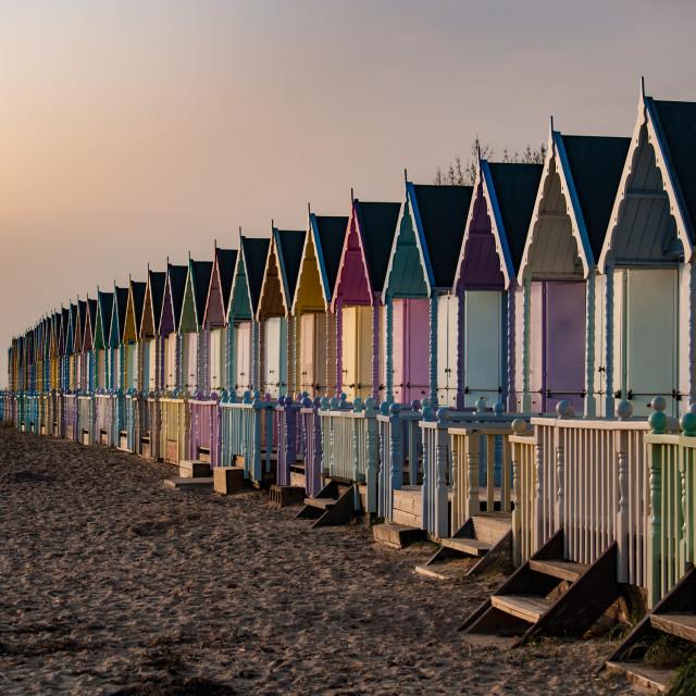 """""""Sunset light on Mersea beach huts"""" stock image"""