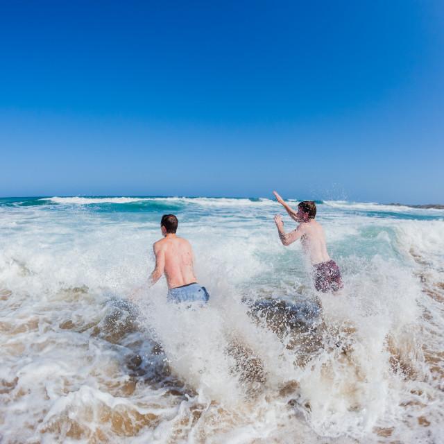 """Teenagers Ocean Shorebreak Swim"" stock image"