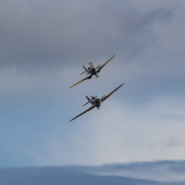 """BBMF Spitfire and Hurricane"" stock image"