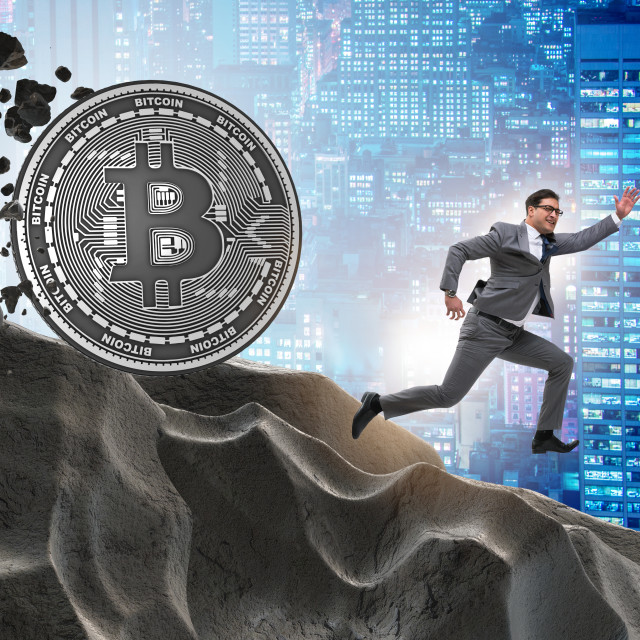 """""""Bitcoin chasing businessman in cryptocurrency blockchain concept"""" stock image"""