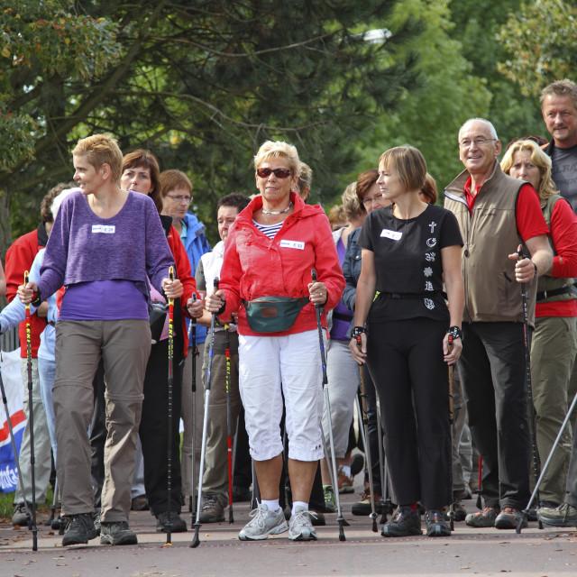 """""""Start Nordic walking"""" stock image"""
