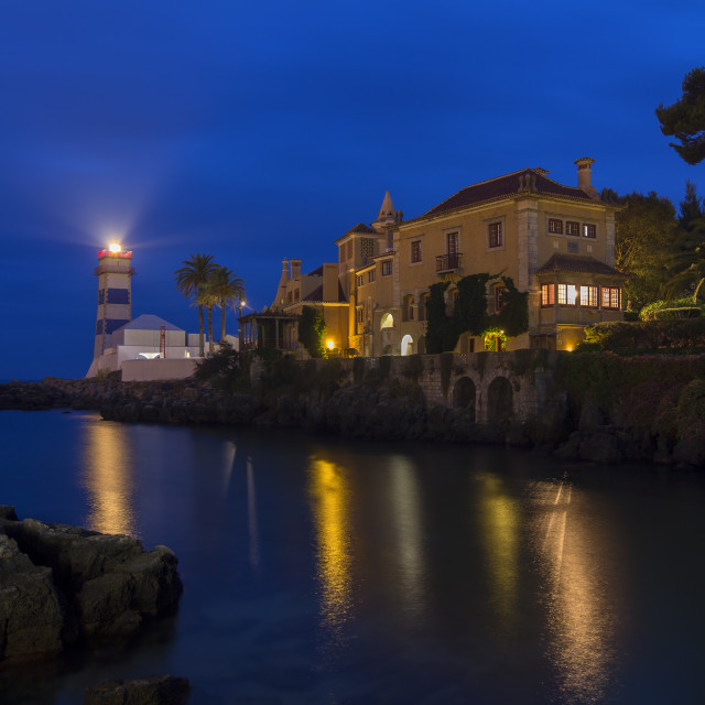 """""""Cascais lighthouse and museum at night"""" stock image"""