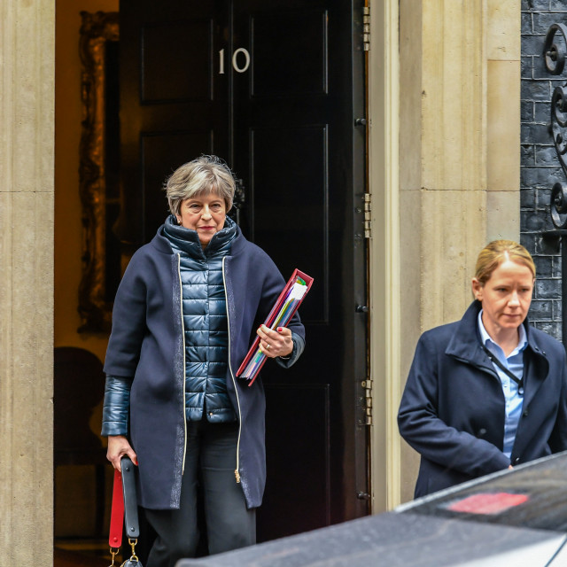 """""""Cabinet Ministers leave 10 Downing Street, London following a ca"""" stock image"""