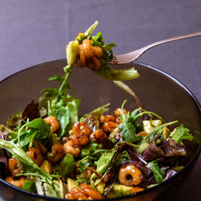 """""""Shrimps salads with soya sauce, lettuce and avocado."""" stock image"""