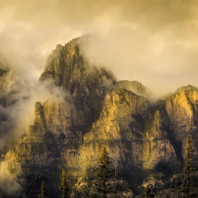 """Golden Glow on Castle Mountain"" stock image"
