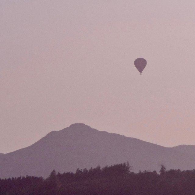 """Bennachie hot air balloon"" stock image"