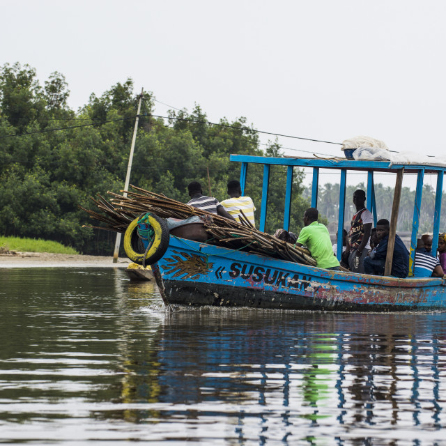 """""""Local ferry in Assinie, Ivory coast"""" stock image"""