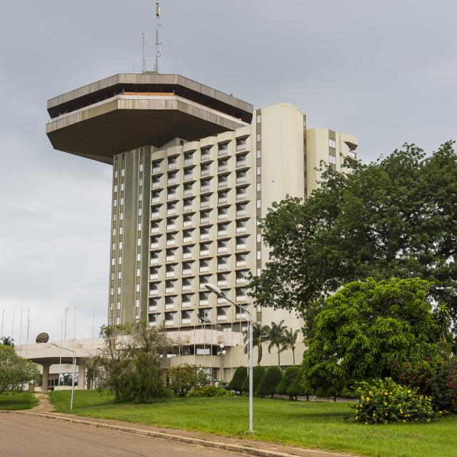 """""""Hotel President in Yamassoukrou, Ivory coast"""" stock image"""