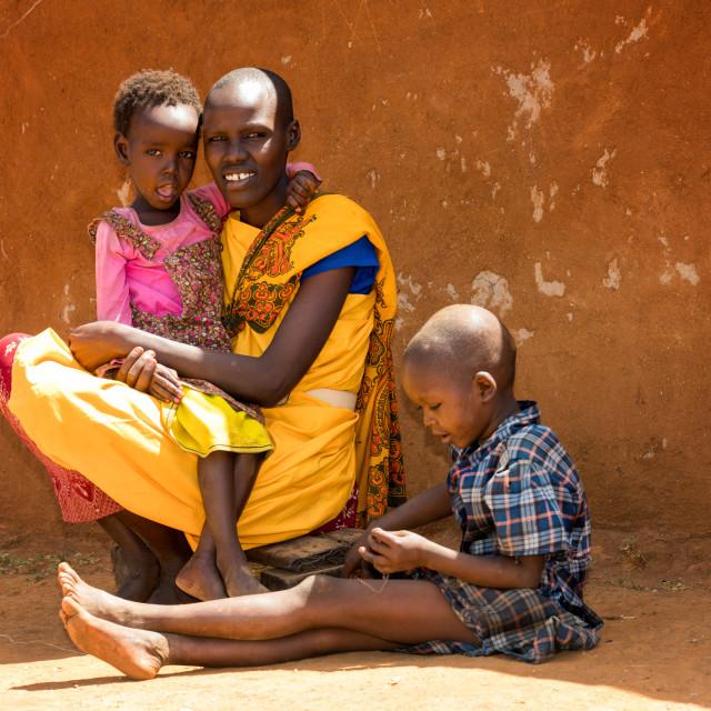 """African Masai Woman and Children, Masai Mara, Kenya, Africa"" stock image"