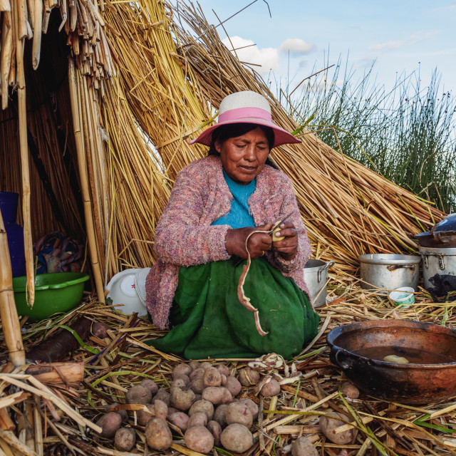 """Native Uro Lady cooking, Uros Floating Islands, Lake Titicaca, Puno Region, Peru"" stock image"