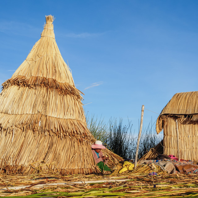 """Uros Floating Island, Lake Titicaca, Puno Region, Peru"" stock image"