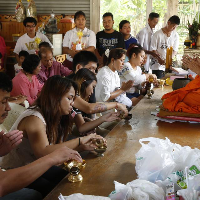 """Khao Pansa celebration at Wat Ampharam, Hua Hin. Puja. Thailand."" stock image"