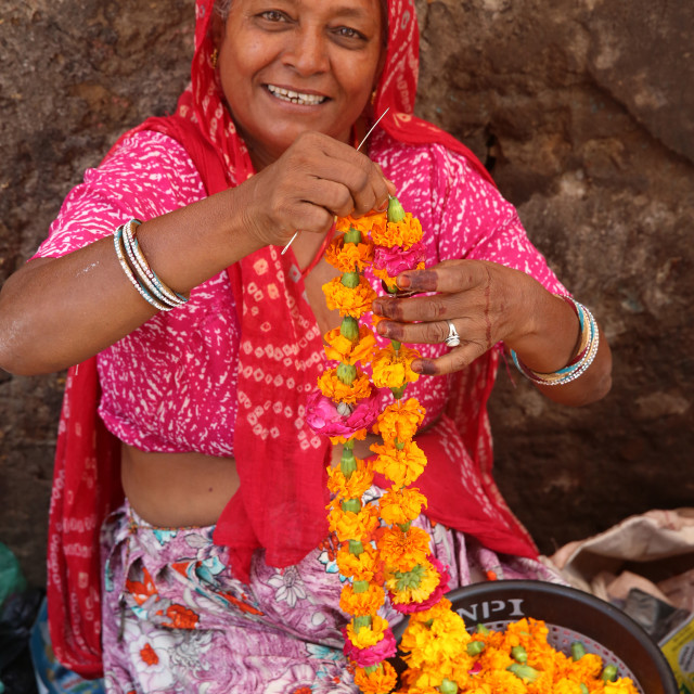 """""""Indian woman making garlands in Ajmer, India."""" stock image"""