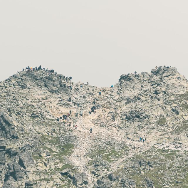 """Mountaineers on Peak Rysy in High Tatras"" stock image"