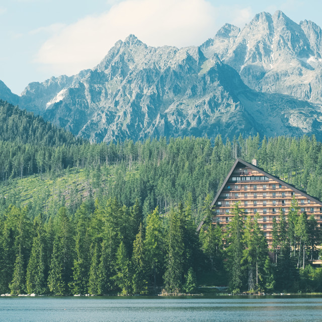 """Strbske Pleso Lake and Mountains"" stock image"