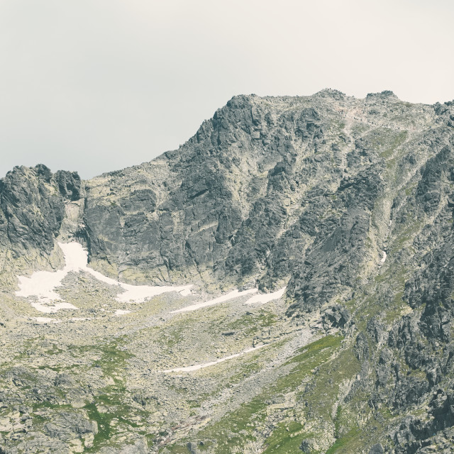 """""""Peak Rysy in High Tatras with Mountaineers"""" stock image"""