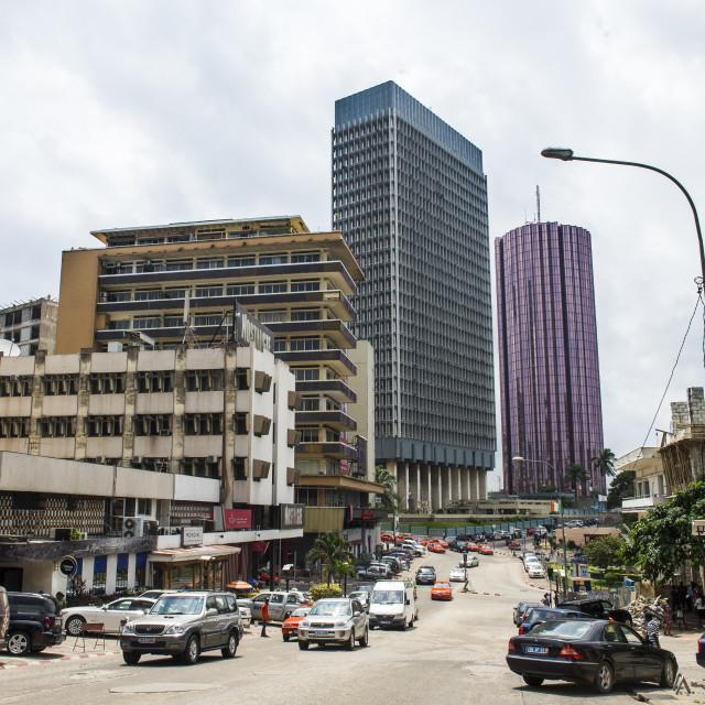 """Downtown, Abidjan, Ivory coast"" stock image"
