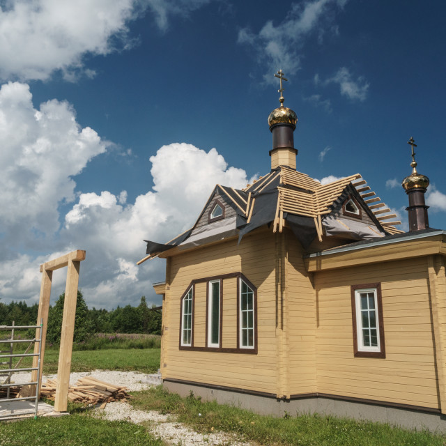 """Brand new Russian Orthodox church, Old Believers' village (very orthodox..."" stock image"