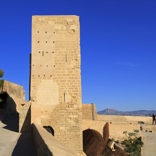 """Santa Caterina Tower, Santa Barbara Castle, Alicante City, Spain, Europe"" stock image"