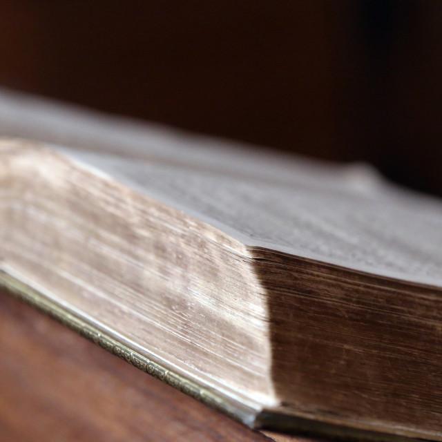 """Calvin Auditory. Old bible in english. Geneva. Switzerland."" stock image"