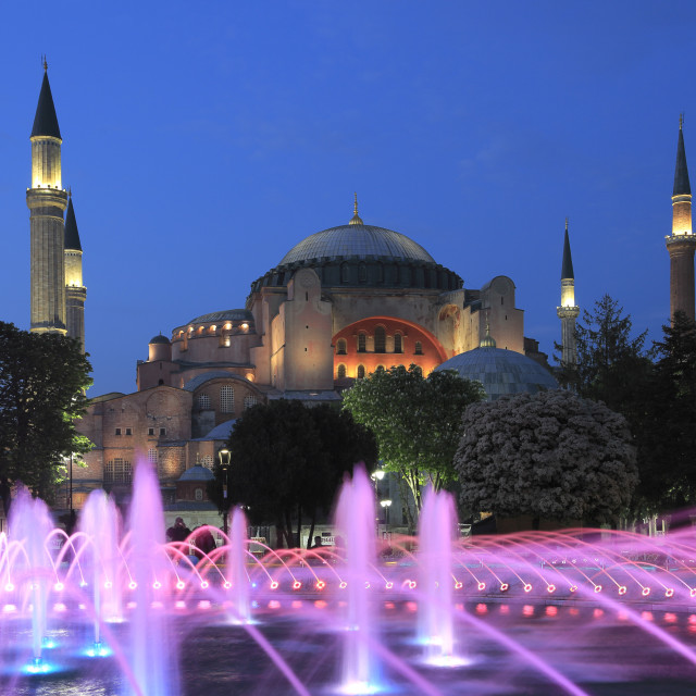 """Hagia Sophia, Aya Sofya at Night, UNESCO World Heritage Site, Sultanahmet..."" stock image"