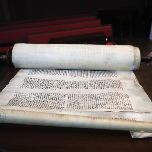 """Synagogue of the Liberal Jewish Community of Geneva. Old Torah scrolls...."" stock image"