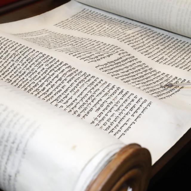 """Torah scrolls and yad. Switzerland."" stock image"