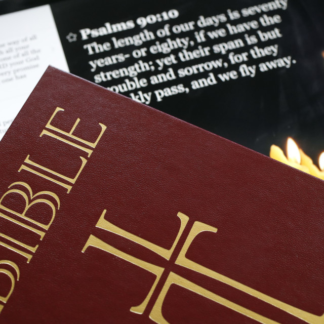 """""""The Holy Bible on paper and Ipad."""" stock image"""