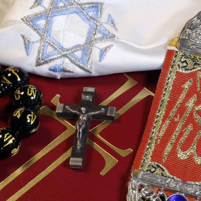"""Christianity, buddhism, Islam and Judaism. Interfaith symbols : bible,..."" stock image"