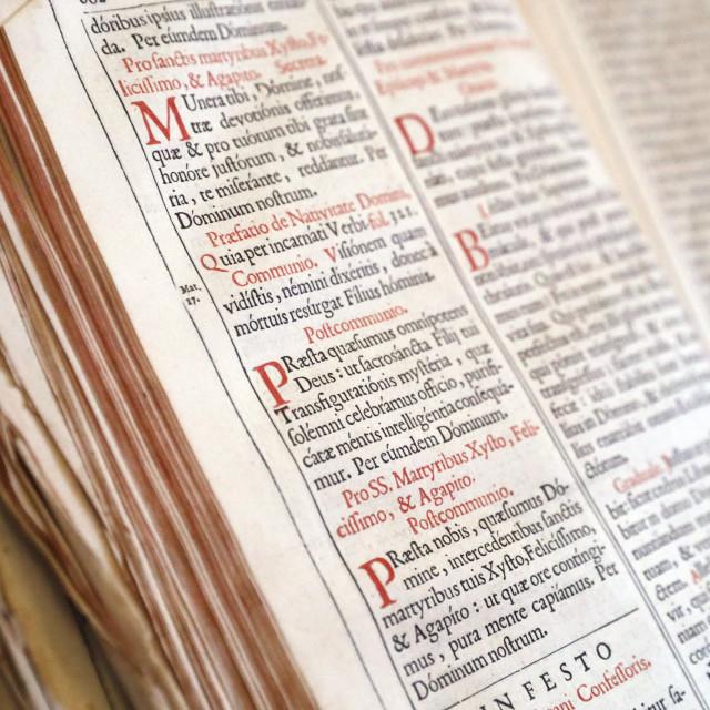 """Old Roman Missal in Latin ( 17 th century ). France."" stock image"