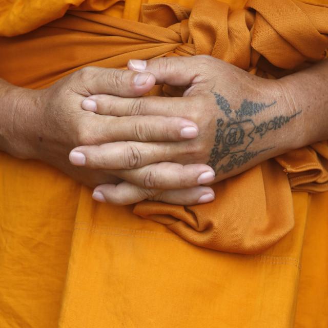 """""""Monk in Wat Khao Takiab, Hua Hin. Thailand."""" stock image"""