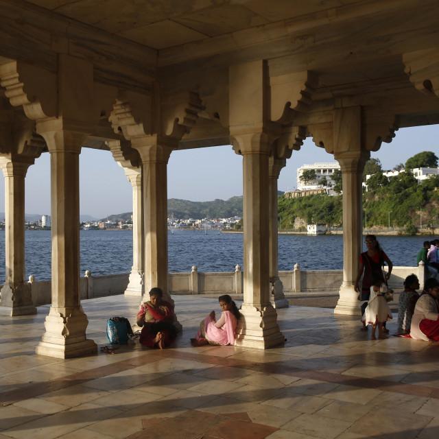 """""""Baradari built by Shah jahan at lake Anasagar, Ajmer, India."""" stock image"""
