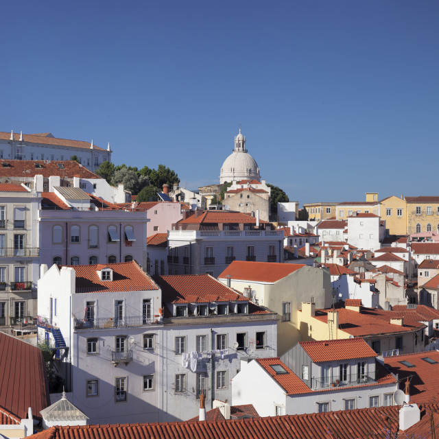 """Santa Luzia viewpoint, Sao Vicente de Fora monastery, National Pantheon,..."" stock image"