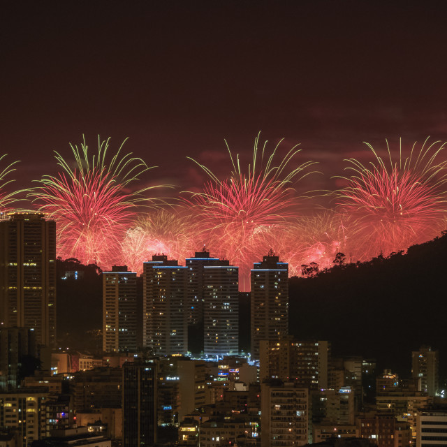 """New Years Fireworks over Rio de Janeiro, Brazil"" stock image"