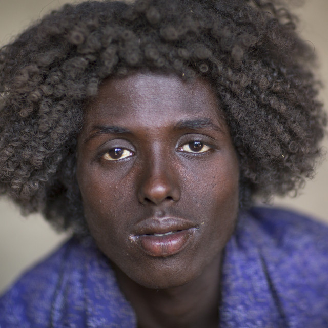 """Afar Tribe Man With Curly Hair, Assayta, Ethiopia"" stock image"