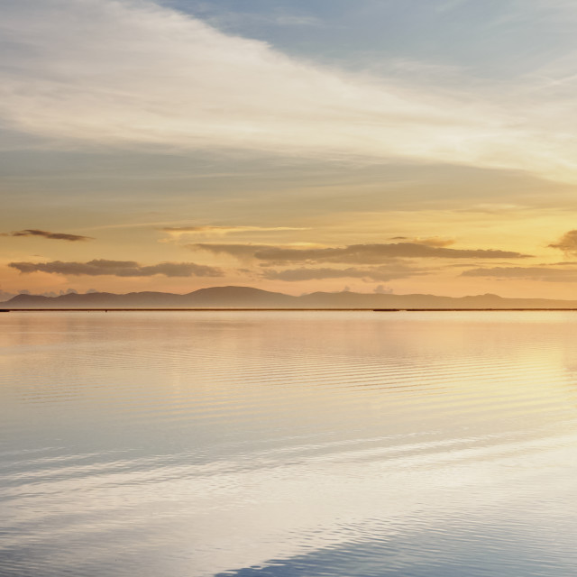 """Lake Titicaca at sunrise, Puno, Peru"" stock image"
