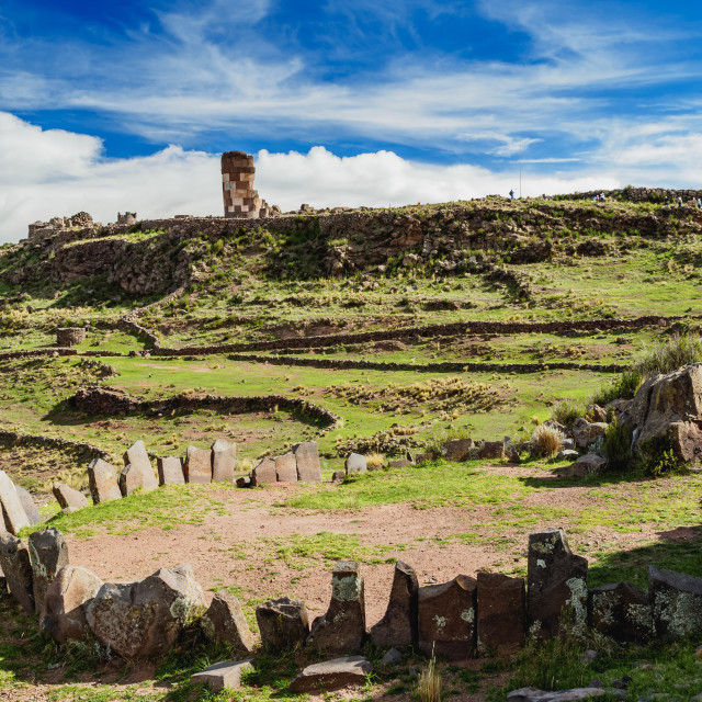 """Stone Circle and Chullpa in Sillustani, Puno Region, Peru"" stock image"