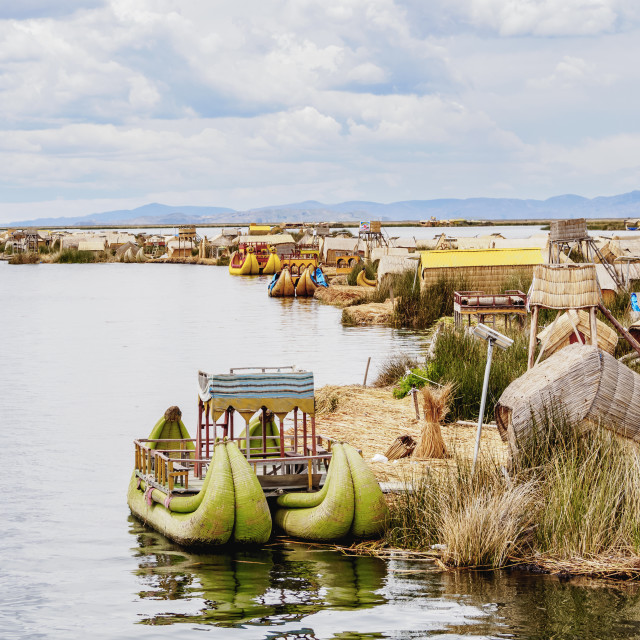 """Uros Floating Islands, elevated view, Lake Titicaca, Puno Region, Peru"" stock image"