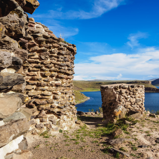 """Chullpas by the Lake Umayo in Sillustani, Puno Region, Peru"" stock image"