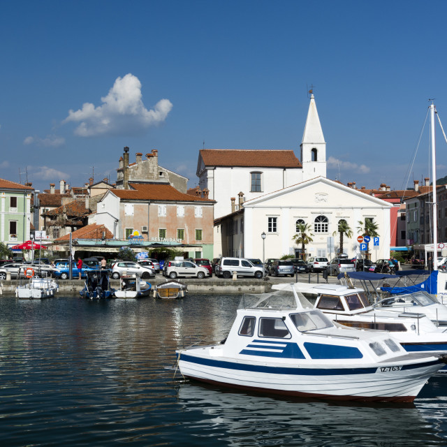 """The port of Isola surrounded by the old town, Slovenia."" stock image"