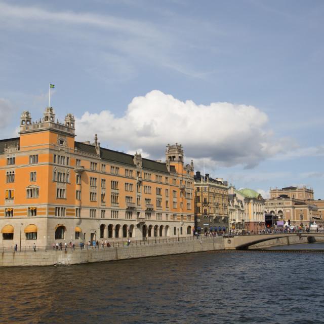 """""""Rosenbad Federal Government Building (left), Stockholm, Sweden"""" stock image"""