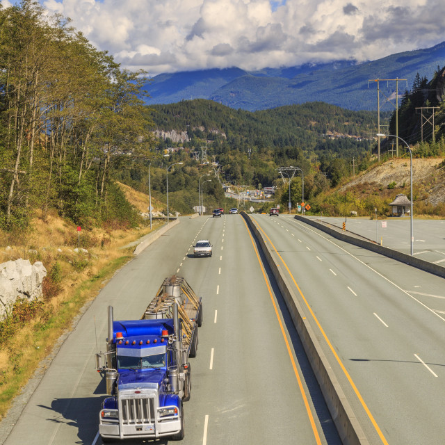 """""""Freighliner on The Sea to Sky Highway near Squamish, British Columbia,..."""" stock image"""