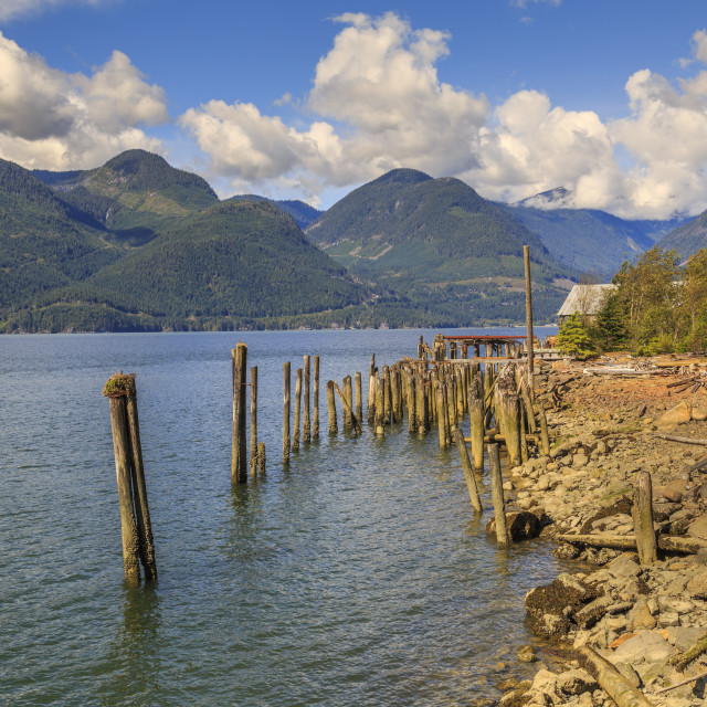 """""""Derelict buildings off The Sea to Sky Highway near Squamish, British..."""" stock image"""