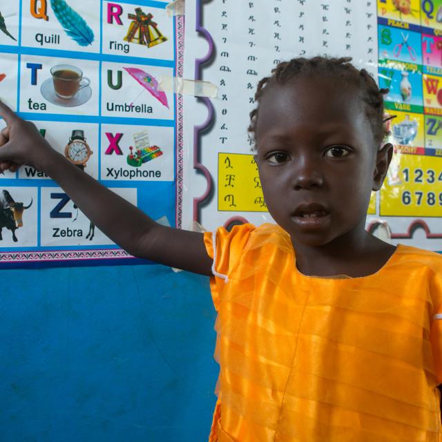 """""""Toposa tribe girl at school, Omo valley, Kangate, Ethiopia"""" stock image"""