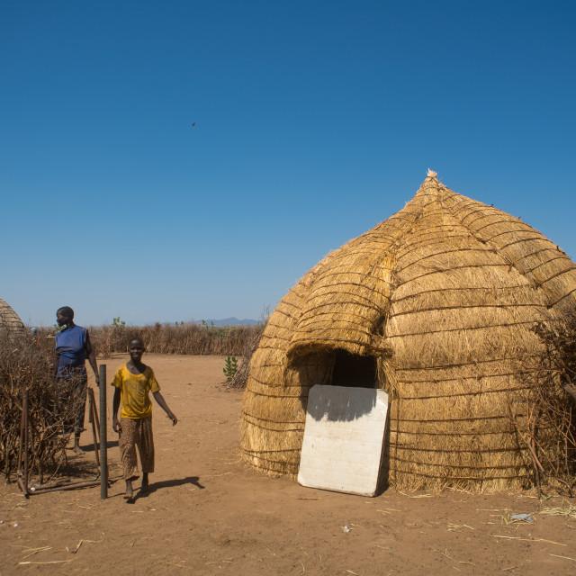 """Traditional nyangatom and toposa tribes village, Omo valley, Kangate, Ethiopia"" stock image"