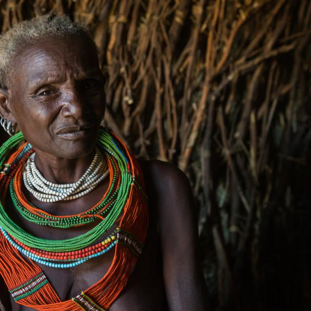"""Toposa tribe woman in her hut, Omo valley, Kangate, Ethiopia"" stock image"