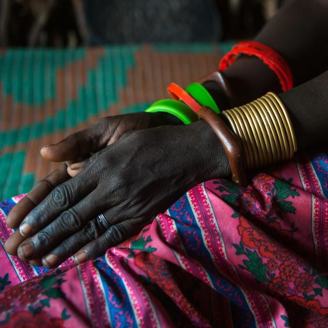 """""""Toposa tribe woman bracelets, Omo valley, Kangate, Ethiopia"""" stock image"""