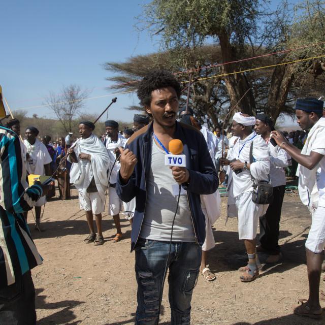 """Ethiopian journalist during the Gada system ceremony in Borana tribe, Oromia,..."" stock image"