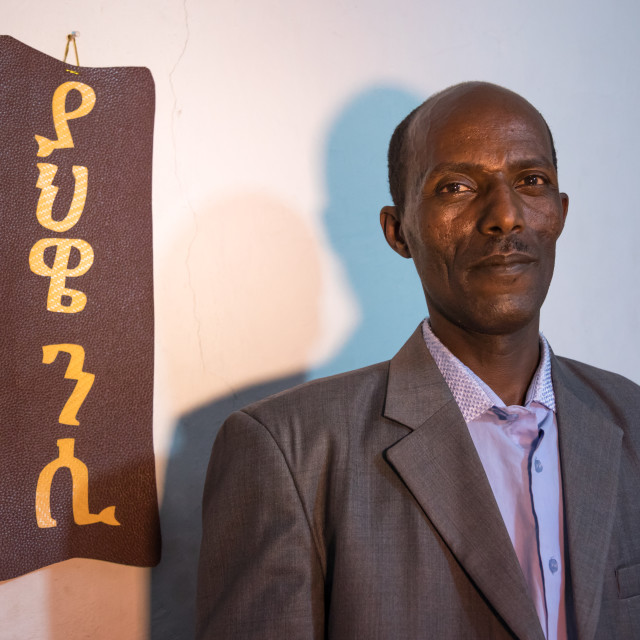 """""""Evangelist pastor Zaid who converted from islam to christianity, Addis Ababa..."""" stock image"""